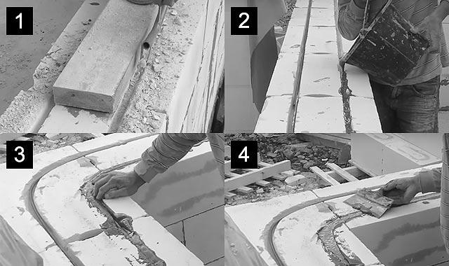 ход работ по армированию кладки из газосиликатных блоков