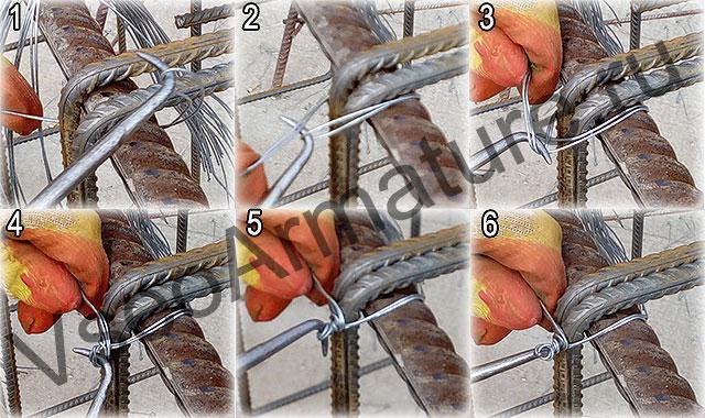 схема вязки простым узлом