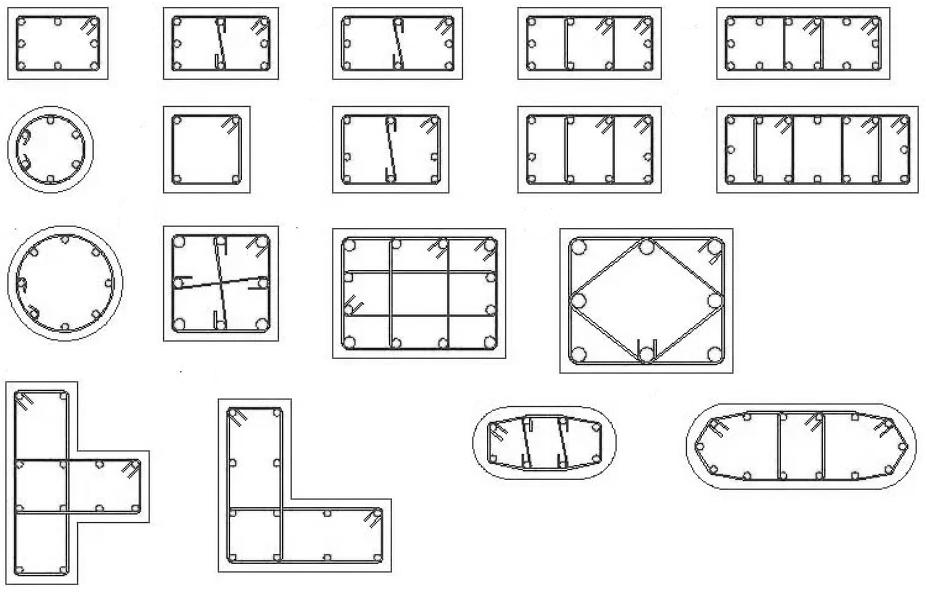 Армирование колонн в зависимости от формы и типа армирования
